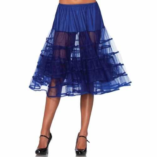 Verkleed lange petticoat kobalt blauw dames