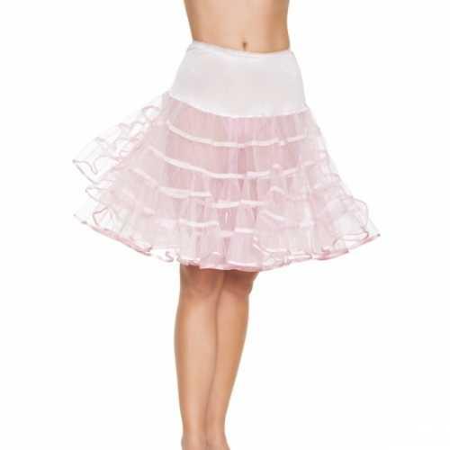 Verkleed lange petticoat licht roze dames