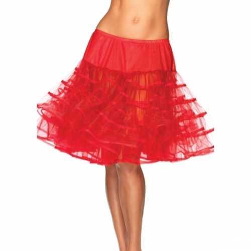 Verkleed lange petticoat rood dames