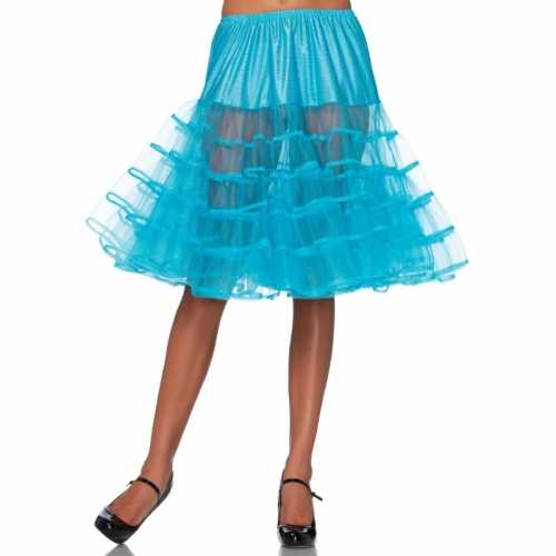 Verkleed lange petticoat turquoise dames