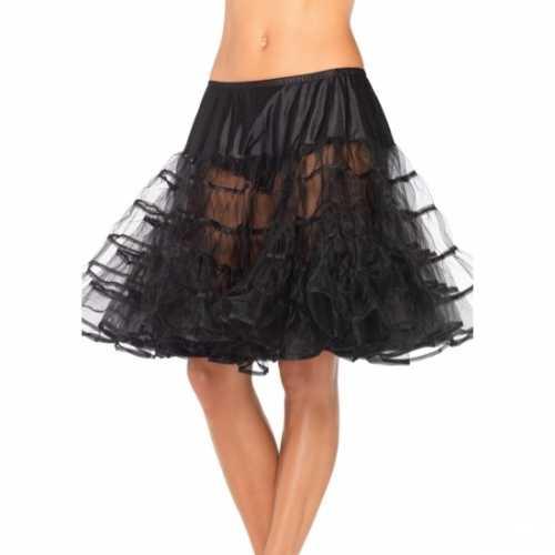 Verkleed lange petticoat zwart dames