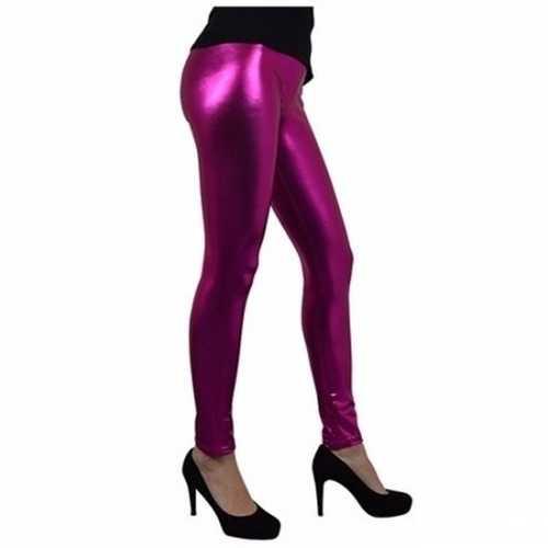 Verkleed legging fuchsia roze metallic dames