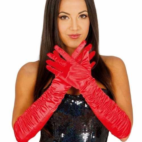 Verkleed satijnen gala handschoenen rood