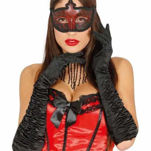 Verkleed satijnen gala handschoenen zwart
