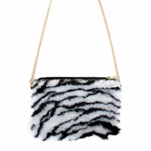 Verkleedaccessoire tasje zebra print dames