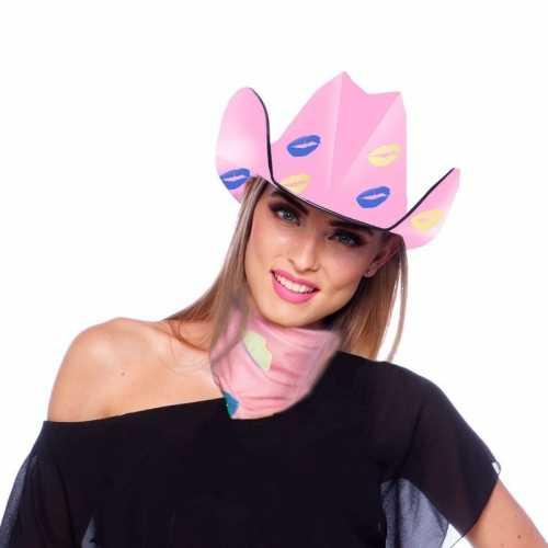 Verkleedaccessoires cowboyhoed roze kusjes dames