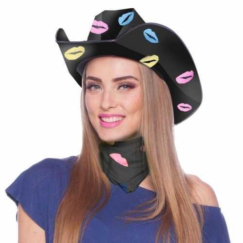 Verkleedaccessoires sjaaltje bandana zwart kusjes dames