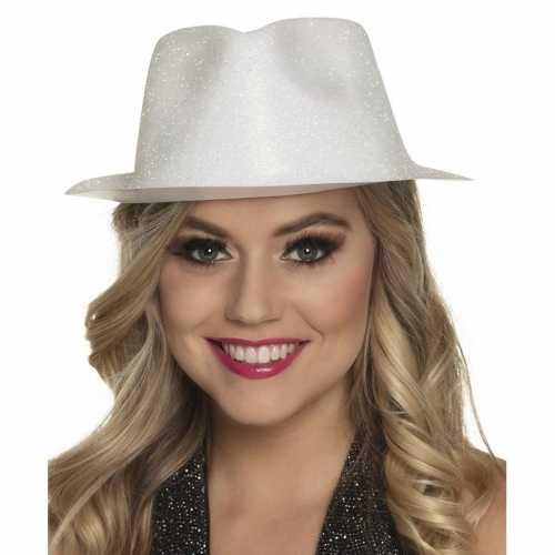 Verkleedaccessoires witte trilby hoed glitters