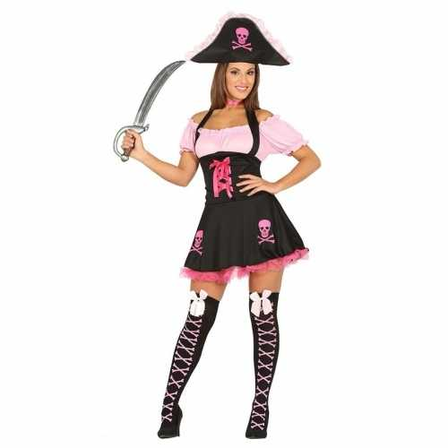 Verkleedjurk piraat zwart roze