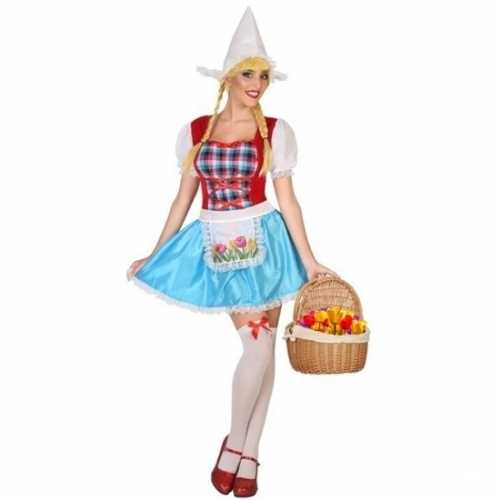 Verkleedkleding kaasmeisje verkleedkleding in rood wit blauw