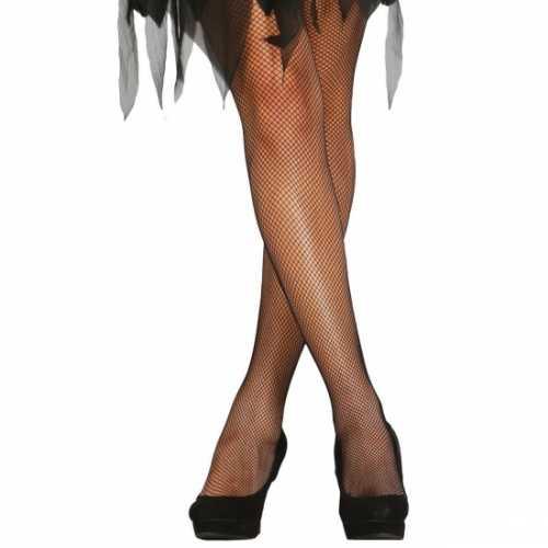 Verkleedkleding net panty zwart
