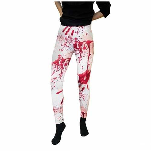 Verkleedkleding zuster legging wit bloed