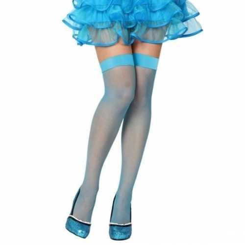 Visnet overknee kousen blauw dames