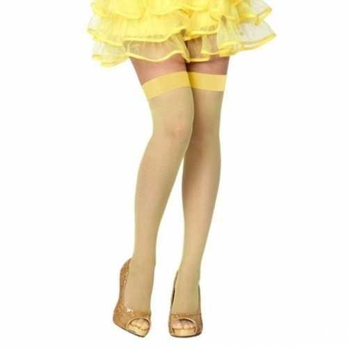 Visnet overknee kousen geel dames