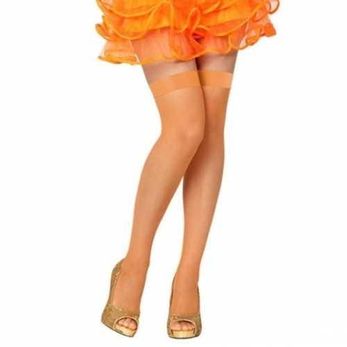 Visnet overknee kousen oranje dames