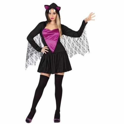 Vleermuis verkleedkleding zwart/paars dames