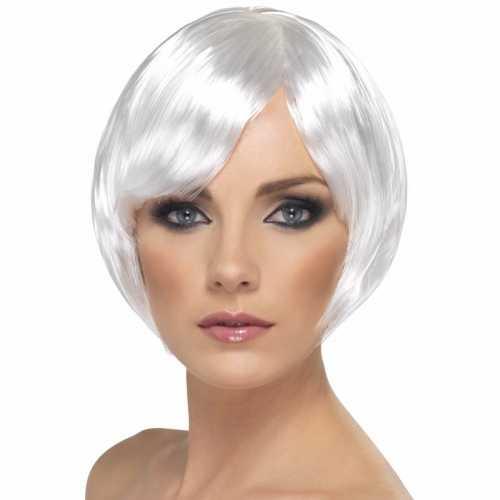 Witte damespruik kort model
