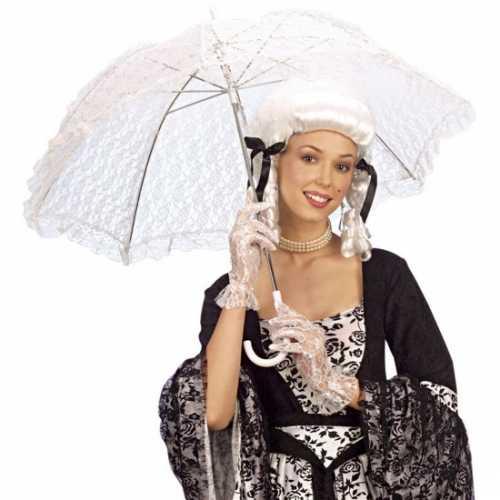 Witte kanten paraplu dames