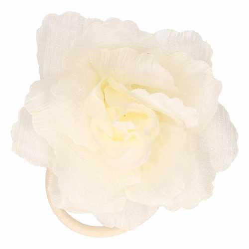 Witte/lichtgele bloem in het haar