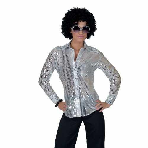 Zilveren 70s disco verkleedkleding blouse dames