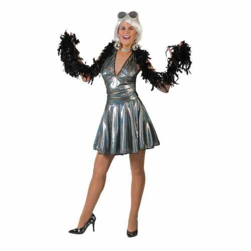 Zilveren 70s disco verkleedkleding rok top dames