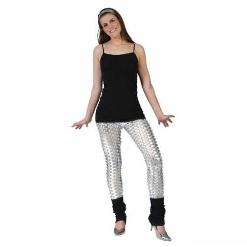 Zilveren disco legging gaten