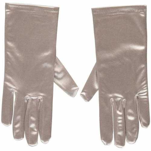 Zilveren gala handschoenen kort van satijn 20
