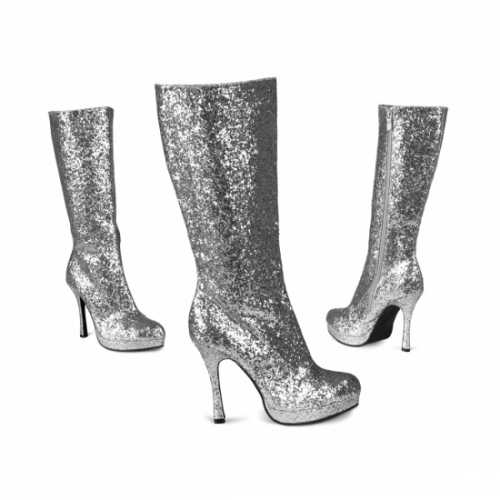 Zilveren laarzen glitters
