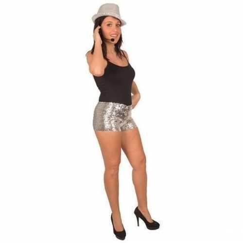 Zilveren pailletten hotpants dames