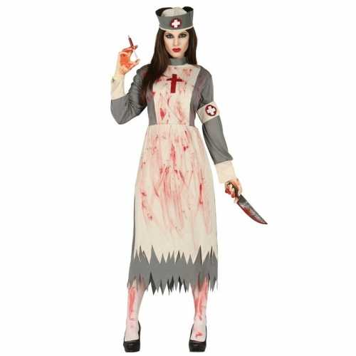 Zombie verpleegster verkleed jurk hoedje dames