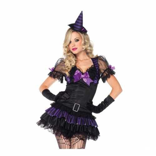 Zwart/paars heksen verkleedkleding