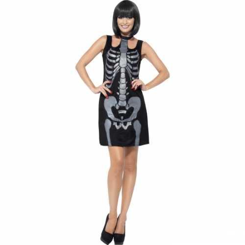 Zwart skelet jurkje glitters