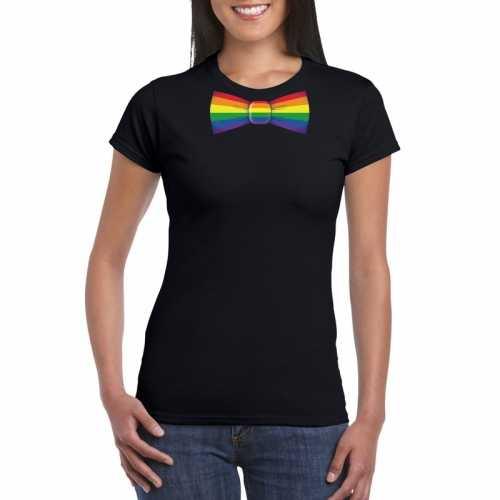 Zwart t shirt regenboog vlag strikje dames