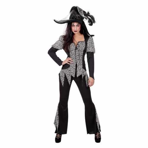 Zwart/wit zombie heksen verkleedkleding dames