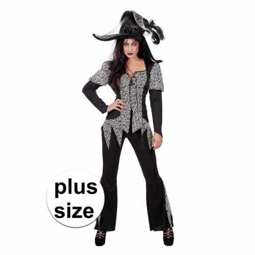 Zwart/wit zombie heksen verkleedkleding plus size dames