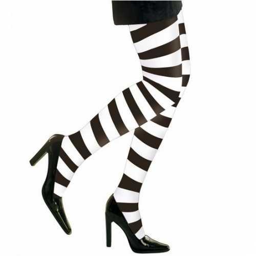 Zwart/witte dames panty strepen