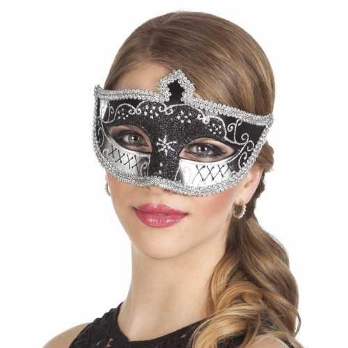 Zwart/zilver glitter oog masker dames