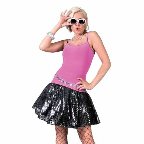 Zwarte 70s disco verkleedkleding rok dames