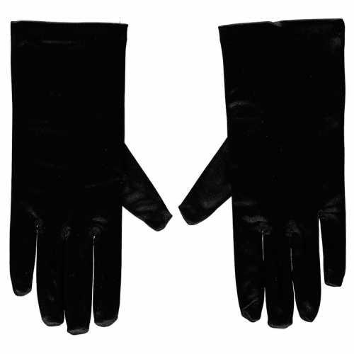 Zwarte gala handschoenen kort van satijn 20