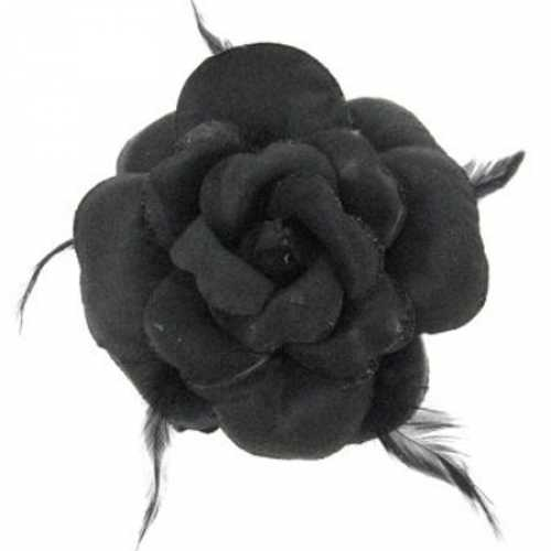 Zwarte glitterbloem elastiek