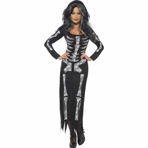 Zwarte jurk een opdruk van een skelet
