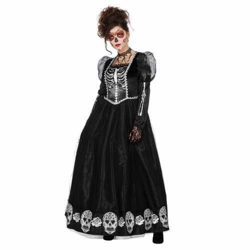 Zwarte jurk schedels dames
