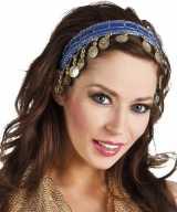 Carnaval esmeralda buikdanseres hoofdband kobalt blauw dames