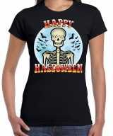 Happy halloween skelet verkleed t-shirt zwart dames