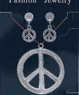 Hippie ketting oorbellen peace